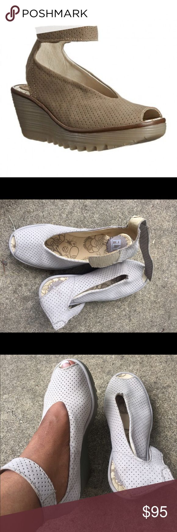 Fly London wedge Beautiful Grey wedge the cutest&comfy wedge EVER!!!!! Awesome condition!!!!!!!! Fly London Shoes Wedges