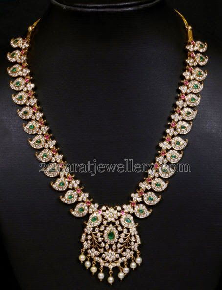 Jewellery Designs: Diamond Mango Mala by VBJ