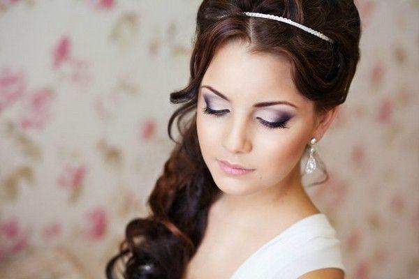 свадебный макияж для карих глаз черные волосы