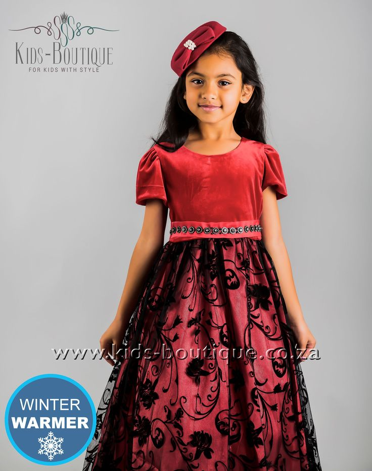 Red Velvet Top Dress With Lace Detail