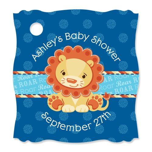 Lion Boy - 20 Personalized Baby Shower Die-Cut Card Stock Tags $6.99