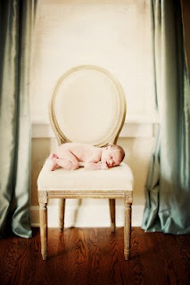 New Born Photo tip: No need for props find a chair.