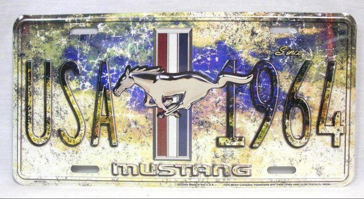 Vintage Metalen Auto Kenteken Ford Mustang USA 1964 Wall Art Poster Tin Teken Ijzer Plaque Bar Garage Home Decor 30x15 cm A693
