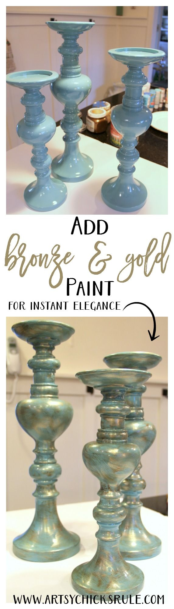 Painted Candlesticks - Super easy makeover - artsychicksrule