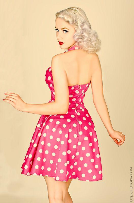 Pink & White 50s Vintage Style Polka Dot Halter Dress /Pin ...