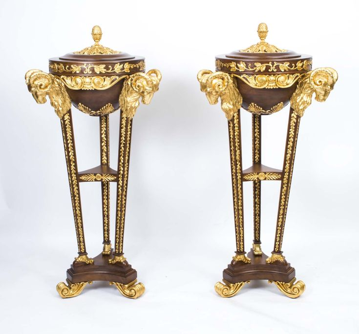 Pair Mahogany & Giltwood Rams Head Pedestals in Adams Style