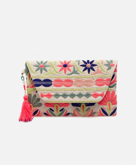 Mala envelope bordado - OYSHO