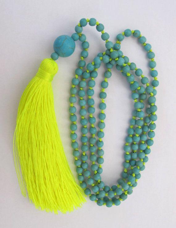 Bright borla collar de abalorios abalorios Aqua por ljcdesignss