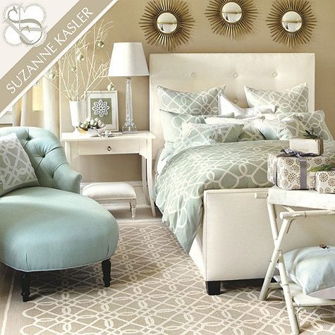 Suzanne Kasler Quatrefoil Bedding-  So cozy!  Just need to edit all the busy.  No presents, different framed art...