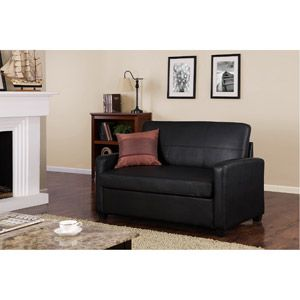 Mainstays Loveseat Sofa Sleeper Black Faux Leather for my office TV room