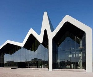 The Riverside Museum of Transport, one of Glasgow's most recent modern cultural buildings, designed by Zaha Hadid Architects