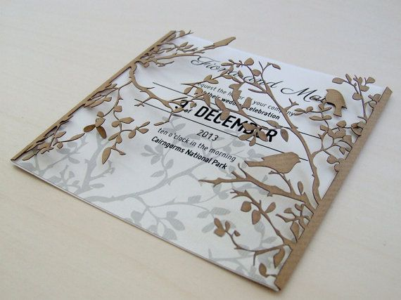 Branch and birds wedding invitation #lasercut