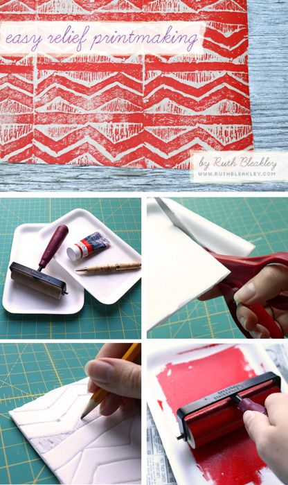 For relief printing (reverse image stamping)- use cleaned styrafoam (SP?!) from fish and meat packages.