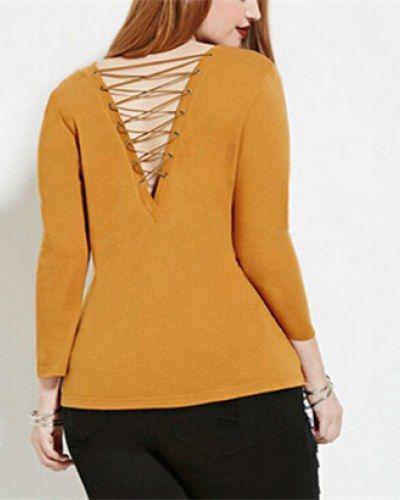5xl  lace up t shirt for women plain yellow long sleeve tops