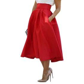 Women's Fashion Summer Wedding Party High Waist A Line Pleated Midi Skirt