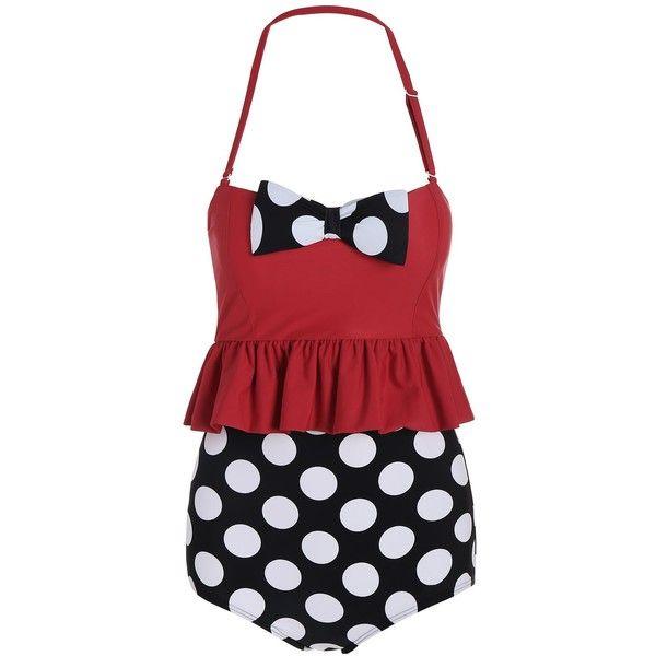High Waisted Polka Dot Flounce Bikini (31 AUD) ❤ liked on Polyvore featuring swimwear, bikinis, high-waisted swimwear, flutter bikini, bikini swimwear, high-waisted bikinis and polka dot swimwear