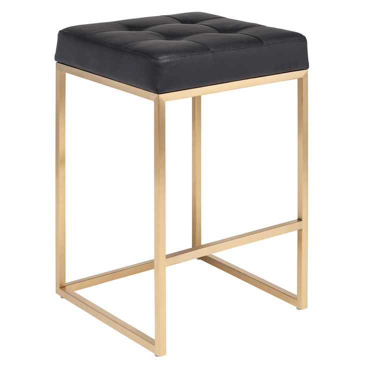 "Edgy lines lend Nuevo's Chi counter stool captivating and elegant style. Pairing a tufted black seat with a striking gold stainless base, this chair exudes polished modernity. Naugahyde seat; Minimum purchase of 2; Wipe down with soft, dry cloth to clean; 17.75""W x 17.75""L x 25.75""H"