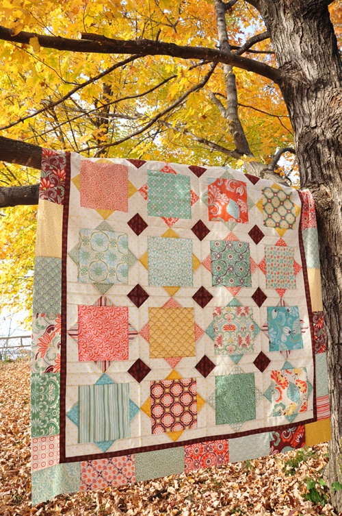 The quilt I want to make with the fabric from our wedding :) (Square Dance, from the book Livin' Large by Heather Mulder)