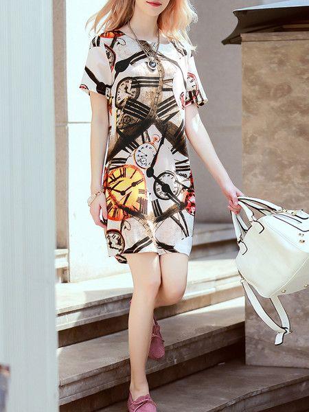 Printed Chiffon Mini Dress