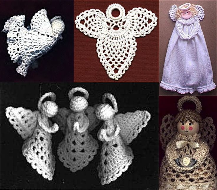 Crochet Granny Square Angel Christmas Ornament Free Pattern. Plus other patterns.