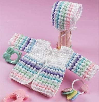 Tiny Bubbles Sweater & Bonnet free crochet pattern