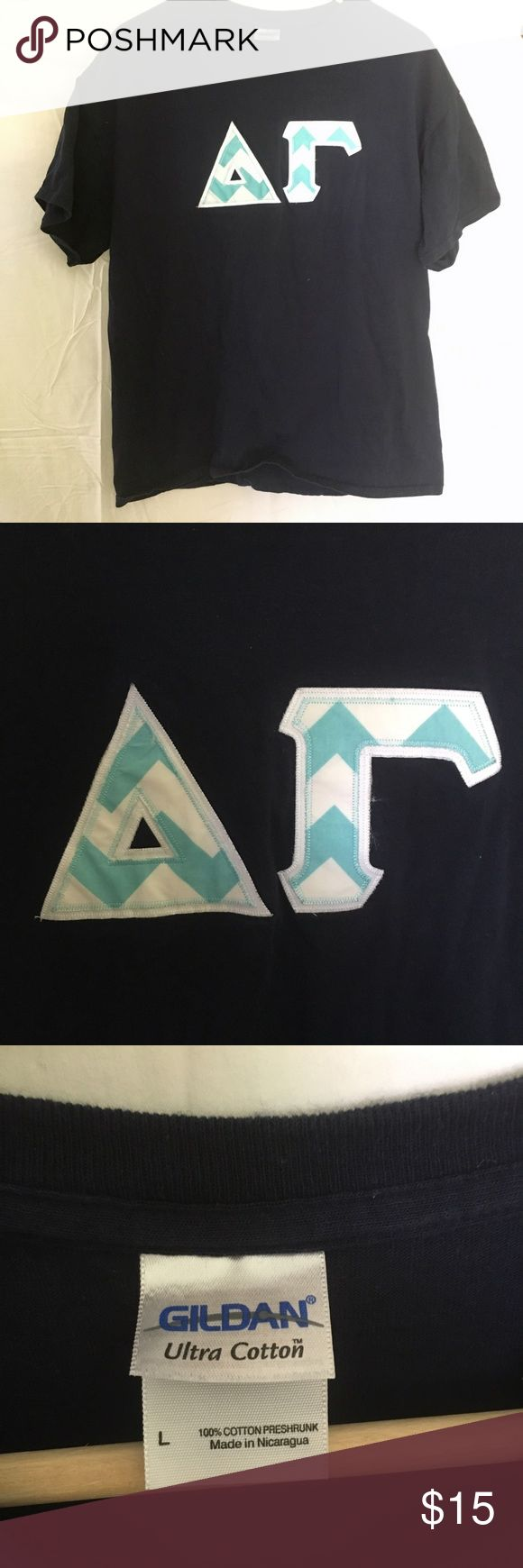 Delta Gamma DG embroidered Cotton navy t-shirt Size large navy t-shirt embroidered with Greek letters.  Delta Gamma. Tops Tees - Short Sleeve