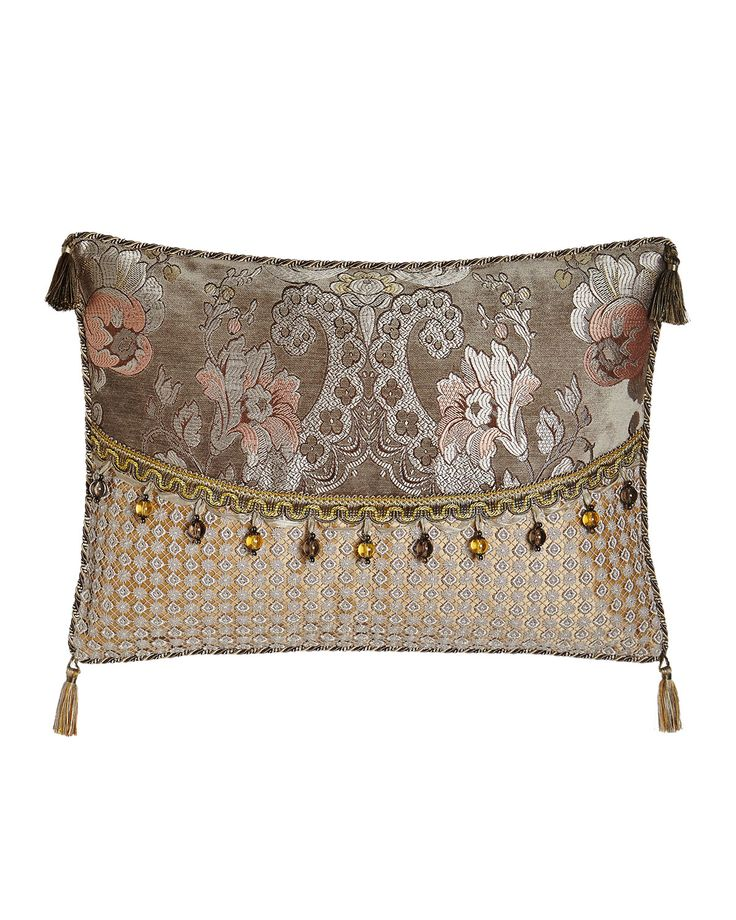 """French Chateau Pieced Pillow with Bead Trim, 19"""" x 16"""", Silver/Gold - Sweet Dreams"""