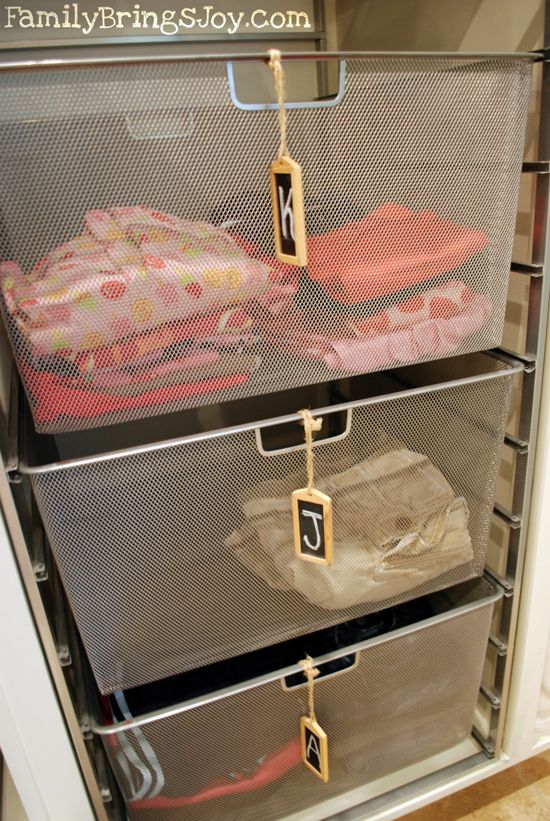 To the right of the baskets is a thin broom closet where I keep my broom, mop and other cleaning tools. I hot glued a table runner to make a pocket to ...