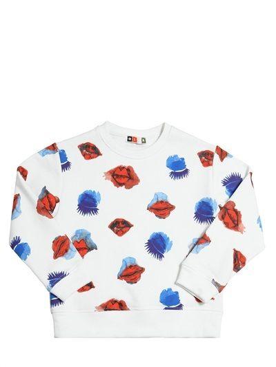 Msgm - Lips & Eyes Printed Cotton Sweatshirt