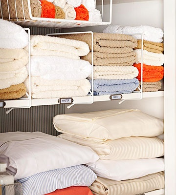 Trouble Spot: Linen Disorganization  You don't even want to look in your messy linen closet—let alone let overnight guests poke around in there! Fast fix: Add shelf dividers to keep stacks of towels neat and separated; use undermount shelving to hold rolled washcloths. Put small appliances in woven baskets and stock up on soap, toothpaste, toothbrushes, shampoo, and lotion. Label the shelving for easy organization.