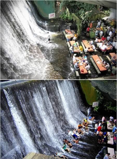 Waterfall Restaurant (Philippines). Located in the Quezon province of the Philippines, Villa Escudero is a nice hacienda-style resort with cozy rooms and an exotic atmosphere. However, what brought its international fame is the waterfall restaurant that allows tourists to enjoy a nice meal right at the foot of a small waterfall.