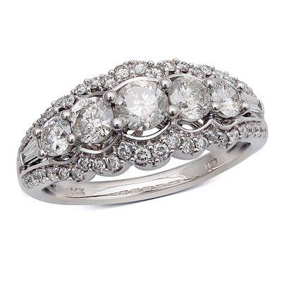1 1 4 ct t w diamond five stone frame anniversary ring. Black Bedroom Furniture Sets. Home Design Ideas