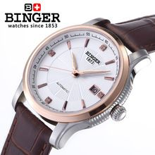 Genuine Swiss BINGER Brand Mens automatic mechanical self-wind sapphire watch leather strap hollow Sovereign waterproof calendar(China (Mainland))