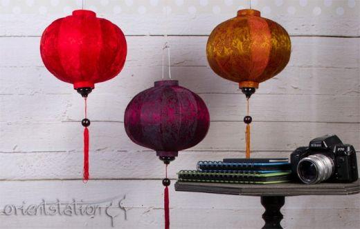 Lampion z jedwabiu, abażur Balloon - czerwony