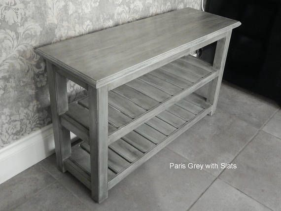 Narrow Console Table With Drawer And 3 Shelves Metallic Grey