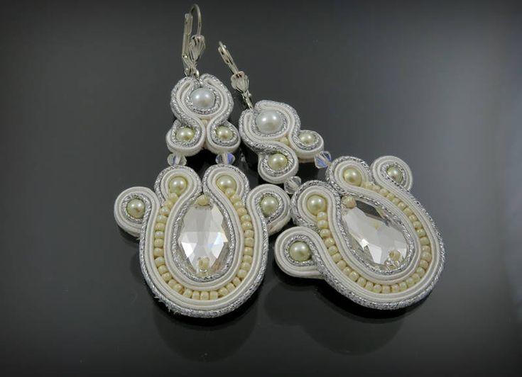 Bridal Soutache earrings with Swarovski by AnnaZukowska on Etsy