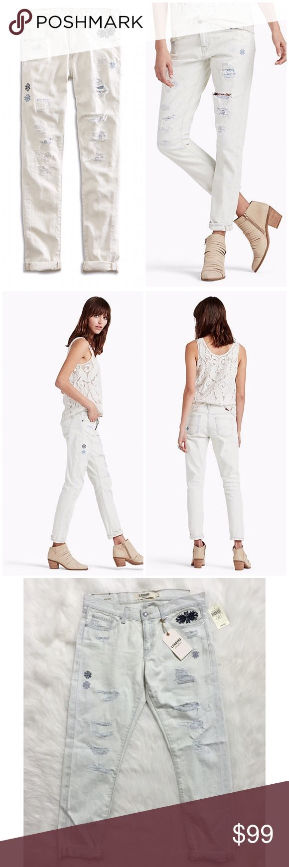 "Lucky Brand Legend Embroidered Sienna Boyfriend Brand new with tags, women's size 4 / 27. These Lucky Brand Legend Embroidered Sienna Slim Boyfriend Distressed Destroyed Jeans are so unique! Love the embroidery and rips! Crafted with premium selvedge denim in Los Angeles, CA. Mid-rise (8.5 inch front rise and 13.75 inch back rise to provide appropriate coverage when seated). Slim through the hip and thigh, with a 12 inch boyfriend leg opening. Inseam is 28"" uncuffed. White wash jeans with…"