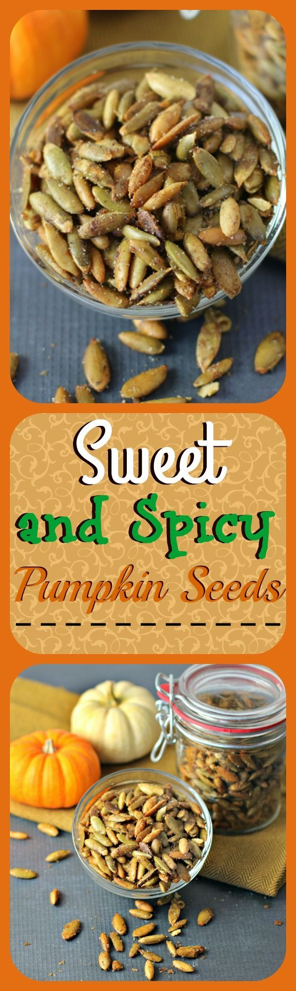 Sweet and Spicy Pumpkin Seeds are butter roasted with 7 spices that will keep your friends guessing! These snappy little seeds are very addicting!