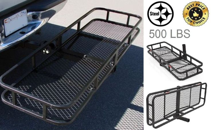 "Steel Car Basket 60"" Folding Cargo Carrier Luggage Hitch Hauler 2"" SUV Truck ATV #CarrierRack"