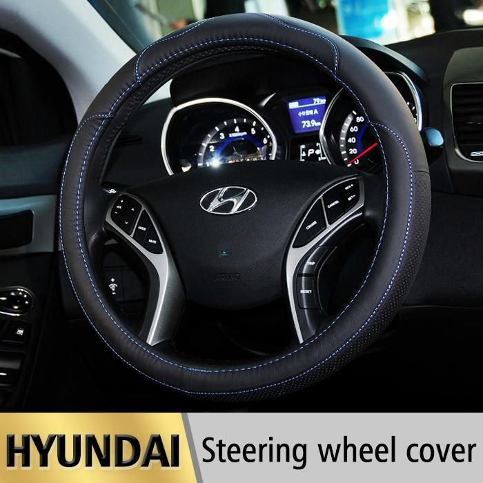[Visit to Buy] Leather Car Styling Steering Wheel Cover For Hyundai Tucson IX35 I30 Solaris Elantra Accent Getz Santa Fe I20 Auto accessories #Advertisement