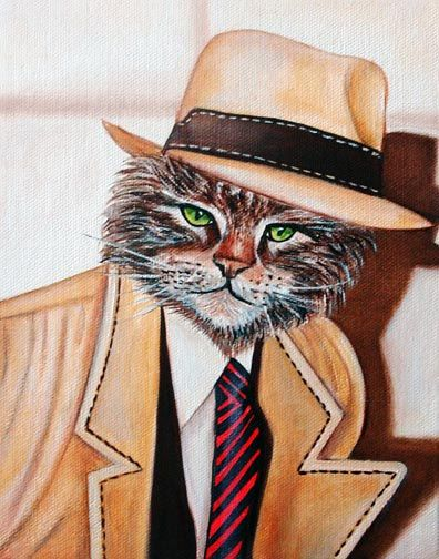 """""""The cat in the hat and jacket was a psychic"""", she said, """"no one believed me.. by fireflygirl777 on Etsy"""