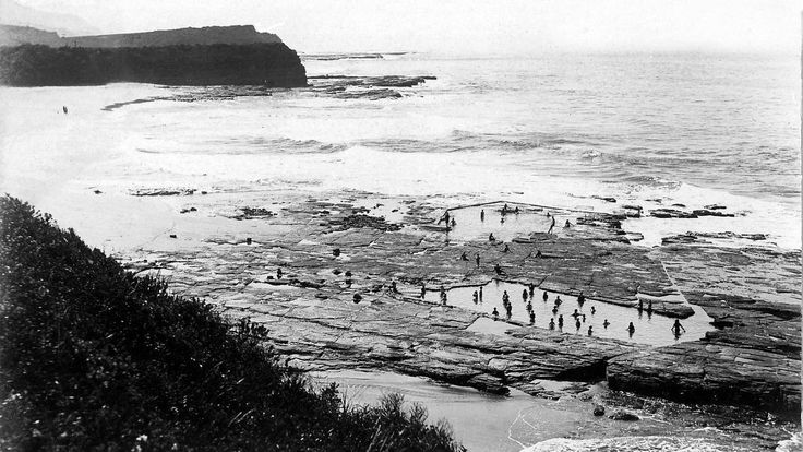 A supplied photo by Ian Foreman of Austinmer Beach before the two main pools were constructed into the rock platform.