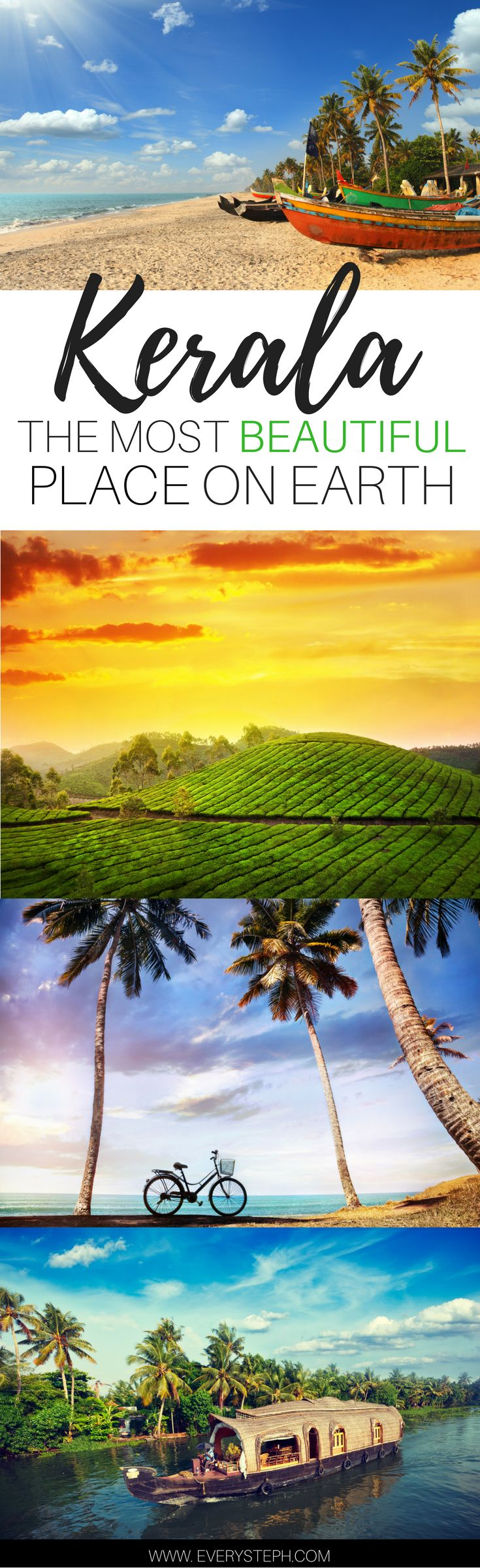 Why Kerala, India, must be the most beautiful place on Earth. An introduction to Kerala through the 5 senses. Backwaters, houseboats, the Munnar tea plantations, beaches, and temples...Kerala is all of this and much more!   | India Travel Tips | Travel Inspiration | Kerala Saree | a post by Every Steph