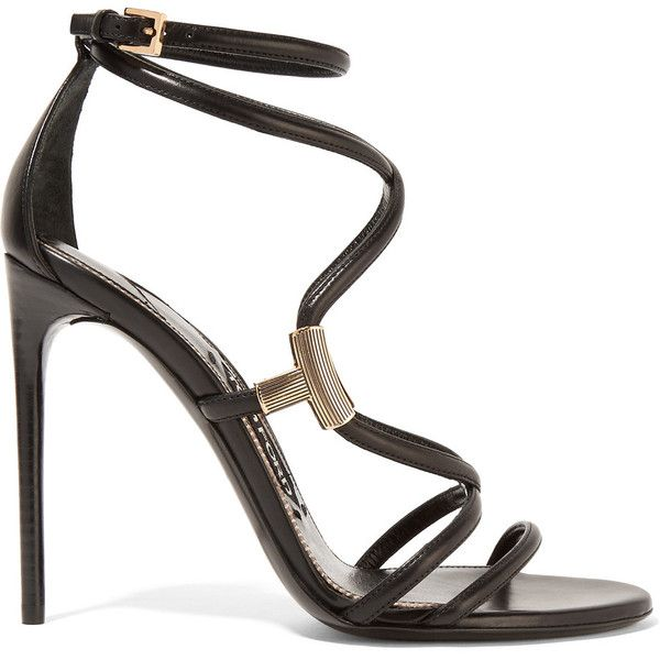 TOM FORD Embellished leather sandals (€930) ❤ liked on Polyvore featuring shoes, sandals, heels, sapatos, tom ford, black leather shoes, strappy heeled sandals, high heeled footwear, strap sandals and leather strap sandals