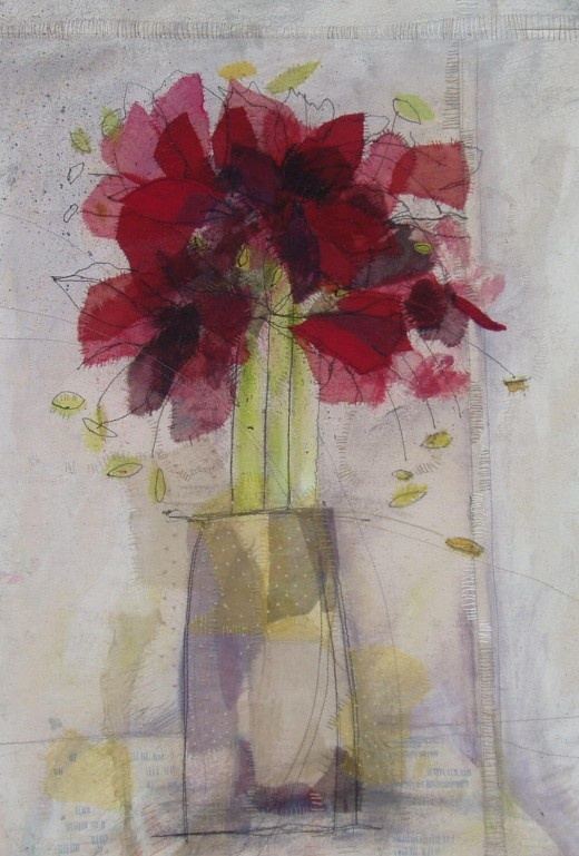 Helen's work - a mixture of stitch and mixed media creates lovely artwork