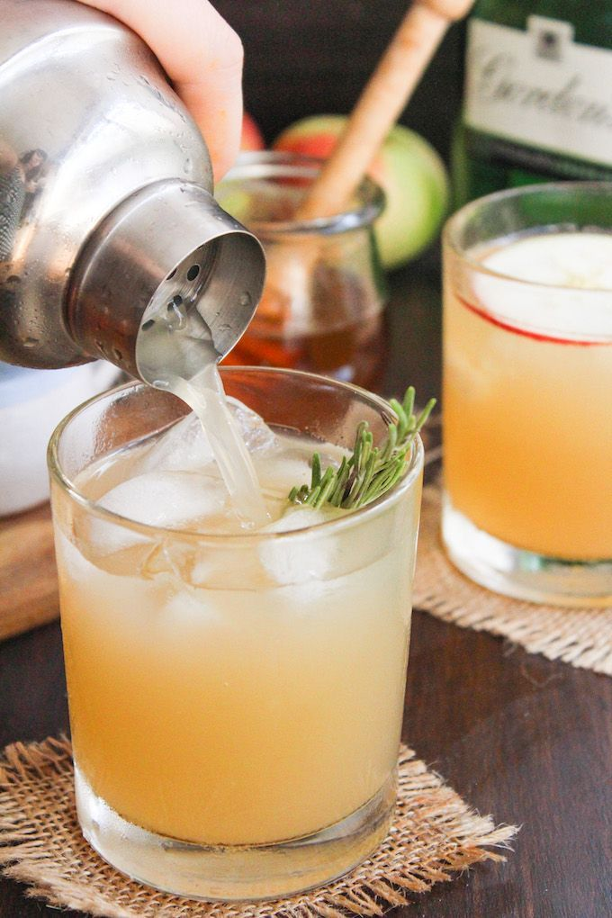 Apple bees knees cocktail adds a seasonal twist to the classic gin cocktail | made with a rosemary infused simple honey syrup