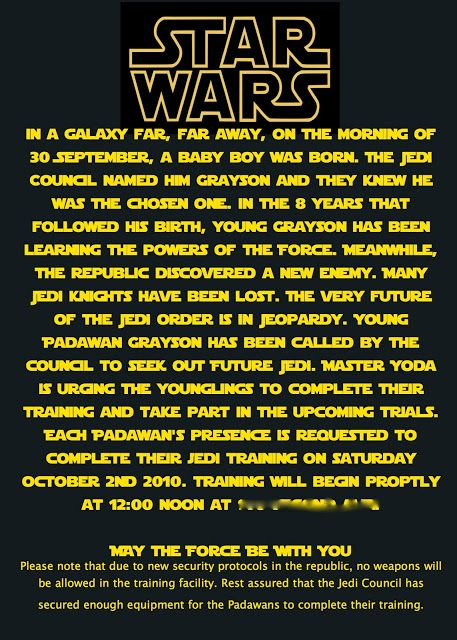 11 best star wars party invitation images on pinterest star at second street jedi in training invite stopboris Gallery