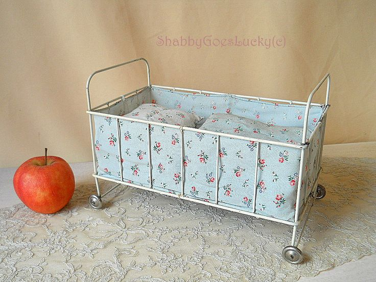 Vintage Metal Doll Bed On Tin Wheels, 1950s Doll Cot With Mattress +  Original Bedding For 8 Inch Baby Doll, Old Large Scale Dollhouse Crib
