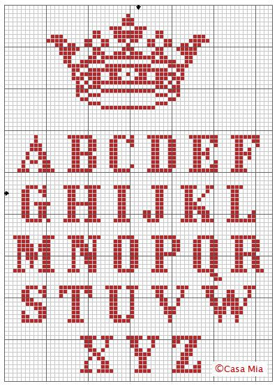 "crown and alphabet cross-stitch pattern {DIY ""keep Calm and...""}...@Monique Otero Otero Otero Willis"