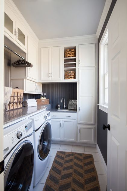 Traditional Laundry Room by Hartley and Hill Design. If only our W/D were on one of the long walls!!